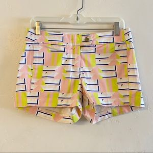 J. Crew NWT White Printed City Fit Chino Shorts 0